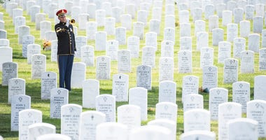 Arlington, VA -- A solo trumpet player honors U.S. Army World War II veteran at Arlington National Cemetery.