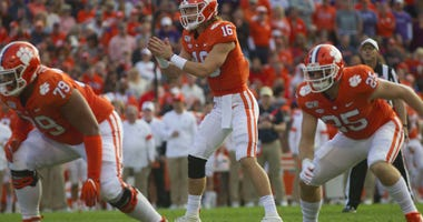 Clemson Tigers quarterback Trevor Lawrence (16) prior to the snap during the first half of the game against the Wake Forest Demon Deacons at Clemson Memorial Stadium.