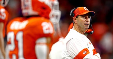 Clemson Tigers head coach Dabo Swinney at the College Football Playoff national championship game at Mercedes-Benz Superdome.