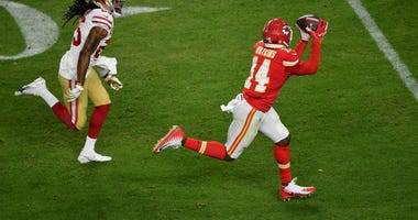 Kansas City Chiefs wide receiver Sammy Watkins (14) makes a reception during the fourth quarter against the San Francisco 49ers in Super Bowl LIV at Hard Rock Stadium.