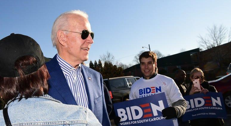 Joe Biden, democratic U.S. Presidential candidate, arrives at the Phillis Wheatley Community Center in Greenville on Saturday, Feb. 29, 2020. South Carolina Democratic Primary For U S President