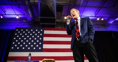 Tom Steyer speaks at a watch party the day of the South Carolina primary in Columbia, Wednesday, February 26, 2020.