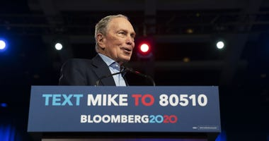 Presidential candidate Mike Bloomberg speaks during his Super Tuesday rally at the Palm Beach County Convention Center in West Palm Beach, Florida on March 3, 2020.