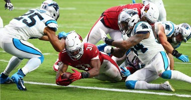 Arizona Cardinals running back David Johnson (31) dives for a touchdown against the Carolina Panthers in the second half during a game on Sep. 22, 2019 in Glendale.