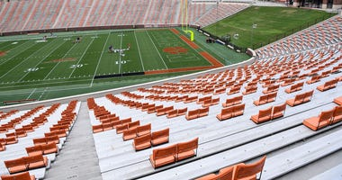 Seats spread apart for social distancing at Memorial Stadium in Clemson, S.C. Tuesday, Sept. 15, 2020.
