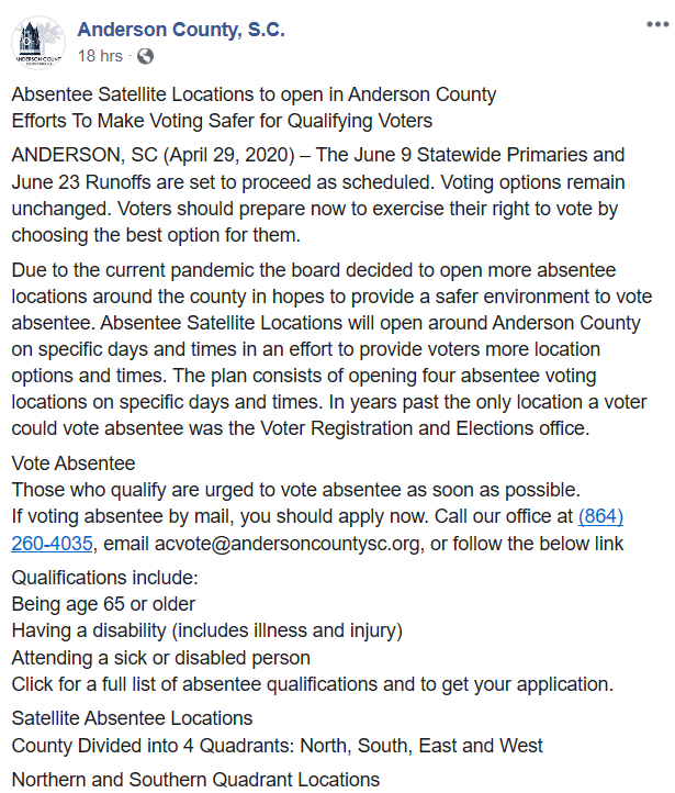 Absentee Satellite Voting Locations