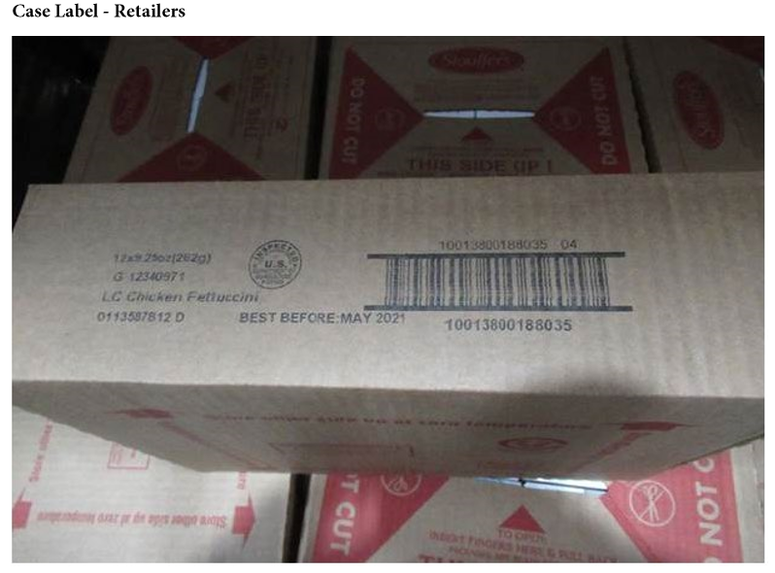 """Lean Cusine Recall.  The products subject to recall bear establishment number """"P27333"""" printed on the package next to the lot code. The products were distributed in shipping cartons labeled as Chicken Fettuccini Alfredo bearing the mark of inspection"""