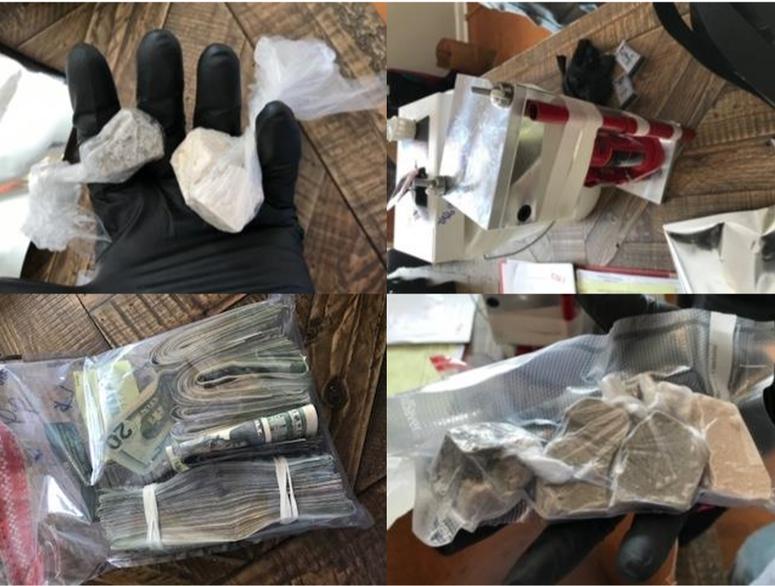 Drug Op dismantled in Mauldin, drugs seized in Simpsonville.  Top L-R: heroin, pill press.  Bottom L-R: money, heroin