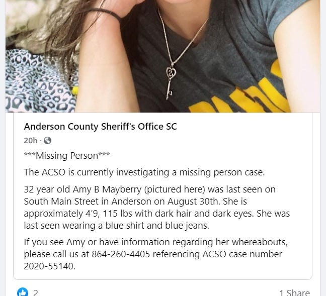 ACSO Facebook Post - Missing - Amy B. Mayberry
