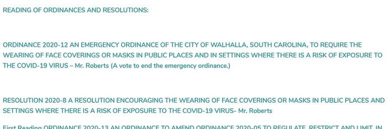 Walhalla City Council Resolution on Ordinance 2020-12