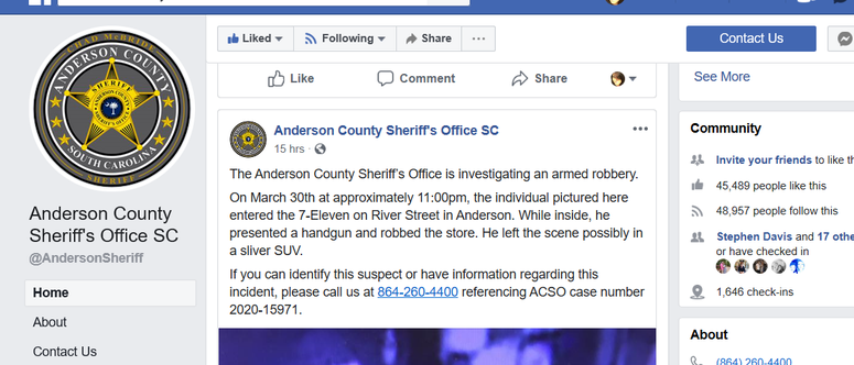 Robbery Suspect Post, ACSO Facebook Page
