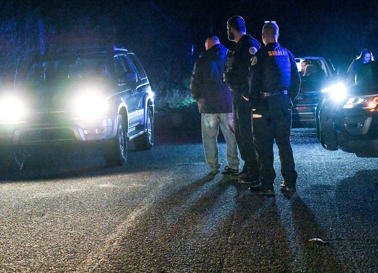 """A car leaves the scene of a shooting at Byron Circle, Belton address outside the city in Anderson County Thursday night. According to spokesperson JT Foster of the Anderson County Sheriff's office, \""""The Anderson County Sheriff's Office is currently inves"""