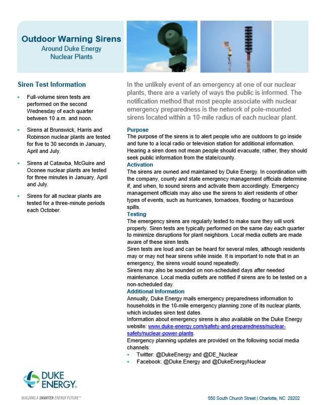 Oconee Nuclear Station Siren Test Fact Sheet