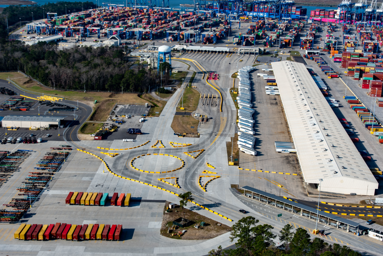Wando Welch Terminal's new roundabout is the largest in the state. The new route improves safety, congestion and efficiency.