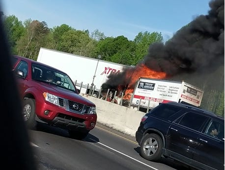 Truck fire, 85 southbound in Greenville County