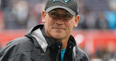 Oct 13, 2019; London, United Kingdom; Carolina Panthers head coach Ron Rivera before an NFL International Series game against the Tampa Bay Buccaneers at Tottenham Hotspur Stadium. Mandatory Credit: Kirby Lee-USA TODAY Sports