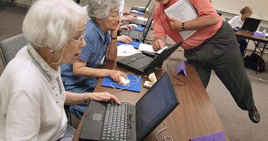 Senior citizens in a classroom