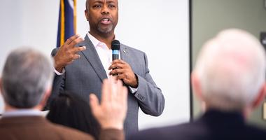 U.S Senator Tim Scott speaks at Tri-County Technical College during his meet and greet event, Tuesday, November 26, 2019.