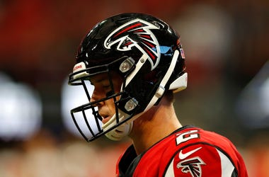 Matt Ryan reacts to a fumble against the Tampa Bay Buccaneers
