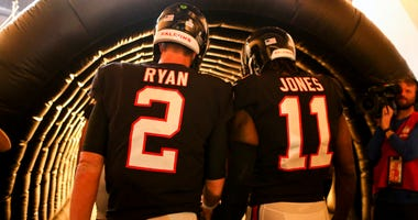 Oct 22, 2018; Atlanta, GA, USA; Atlanta Falcons quarterback Matt Ryan (2) and wide receiver Julio Jones (11) walk on the field before a game against the New York Giants at Mercedes-Benz Stadium. Mandatory Credit: Brett Davis-USA TODAY Sports