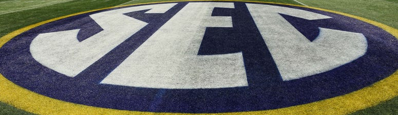 Dec 1, 2018; Atlanta, GA, USA; A general view of the SEC logo prior to the game against the Alabama Crimson Tide and the Georgia Bulldogs during the SEC championship game at Mercedes-Benz Stadium. Mandatory Credit: Dale Zanine-USA TODAY Sports