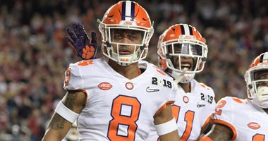Jan 7, 2019; Santa Clara, CA, USA; Clemson Tigers cornerback A.J. Terrell (8) celebrates with safety Isaiah Simmons (11) after scoring on an interception return in the first quarter against the Alabama Crimson Tide during the 2019 College Football Playoff