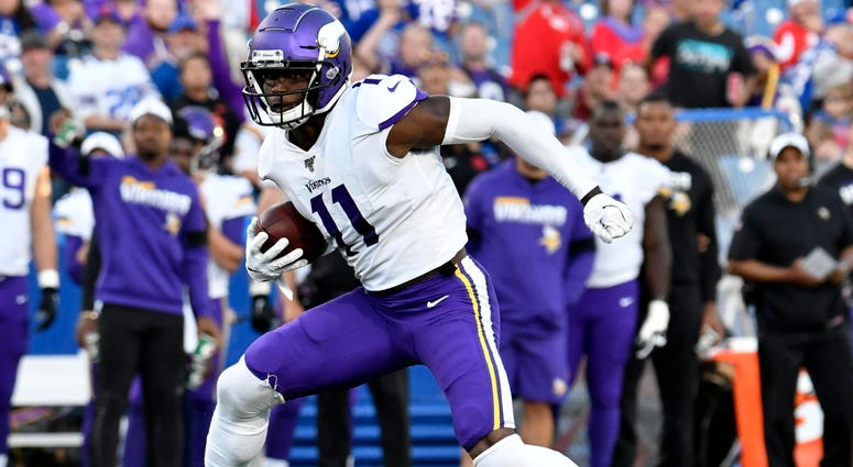 Aug 29, 2019; Orchard Park, NY, USA; Minnesota Vikings wide receiver Laquon Treadwell (11) makes a cut while running after a catch during the first quarter at New Era Field. Mandatory Credit: Mark Konezny-USA TODAY Sports