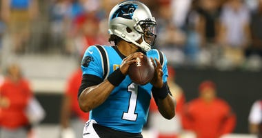 Sep 12, 2019; Charlotte, NC, USA; Carolina Panthers quarterback Cam Newton (1) drops back to pass against the Tampa Bay Buccaneers during the third quarter at Bank of America Stadium. Mandatory Credit: Jeremy Brevard-USA TODAY Sports
