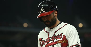 Sep 17, 2019; Atlanta, GA, USA; Atlanta Braves right fielder Nick Markakis (22) reacts after flying out to end the game against the Philadelphia Philliesas at SunTrust Park. Mandatory Credit: Jason Getz-USA TODAY Sports