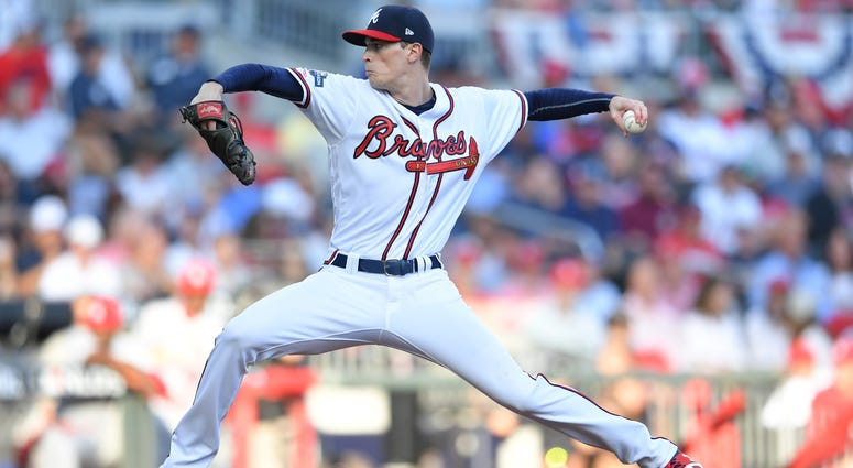Oct 9, 2019; Atlanta, GA, USA; Atlanta Braves starting pitcher Max Fried (54) throws against the St. Louis Cardinals in the second inning of game five of the 2019 NLDS playoff baseball series at SunTrust Park. Mandatory Credit: Dale Zanine-USA TODAY Sport