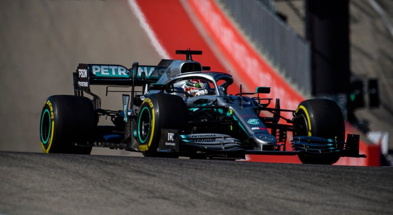 Nov 3, 2019; Austin, TX, USA; Mercedes AMG Petronas Motorsport driver Lewis Hamilton (44) of Great Britain during the United States Grand Prix at Circuit of the Americas. Mandatory Credit: Jerome Miron-USA TODAY Sports