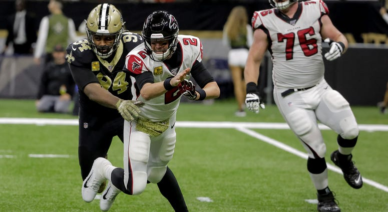 Nov 10, 2019; New Orleans, LA, USA; New Orleans Saints defensive end Cameron Jordan (94) hits Atlanta Falcons quarterback Matt Ryan (2) as he throws during the first half at the Mercedes-Benz Superdome. Mandatory Credit: Derick E. Hingle-USA TODAY Sports