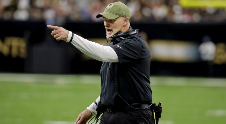 Nov 10, 2019; New Orleans, LA, USA; Atlanta Falcons head coach Dan Quinn reacts during the third quarter against the New Orleans Saints at the Mercedes-Benz Superdome. Mandatory Credit: Derick E. Hingle-USA TODAY Sports