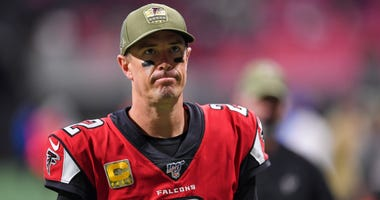 Nov 24, 2019; Atlanta, GA, USA; Atlanta Falcons quarterback Matt Ryan (2) leaves the field after the Falcons were defeated by the Tampa Bay Buccaneers during the second half at Mercedes-Benz Stadium. Mandatory Credit: Dale Zanine-USA TODAY Sports