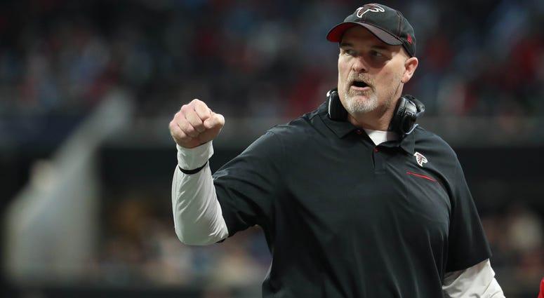 Dec 8, 2019; Atlanta, GA, USA; Atlanta Falcons head coach Dan Quinn reacts to a play in the first half against the Carolina Panthers at Mercedes-Benz Stadium. Mandatory Credit: Jason Getz-USA TODAY Sports