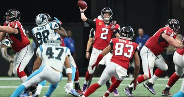 Dec 8, 2019; Atlanta, GA, USA; Atlanta Falcons quarterback Matt Ryan (2) attempts a pass to wide receiver Russell Gage (83) in the first half against the Carolina Panthers at Mercedes-Benz Stadium. Mandatory Credit: Jason Getz-USA TODAY Sports