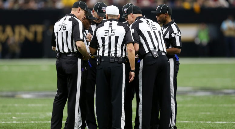 Dec 8, 2019; New Orleans, LA, USA; The NFL referee crew of referee John Hussey (35) work the game between the New Orleans Saints and the San Francisco 49ers in the second half at the Mercedes-Benz Superdome. The 49ers won, 48-46. Mandatory Credit: Chuck C