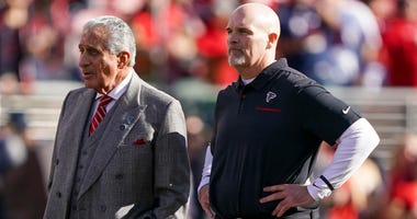 December 15, 2019; Santa Clara, CA, USA; Atlanta Falcons owner Arthur M. Blank (left) and head coach Dan Quinn (right) before the game against the San Francisco 49ers at Levi's Stadium. Mandatory Credit: Kyle Terada-USA TODAY Sports