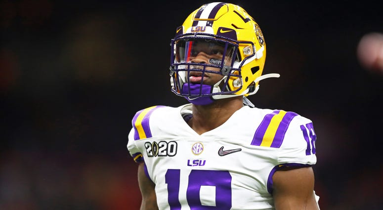 Jan 13, 2020; New Orleans, Louisiana, USA; LSU Tigers linebacker K'Lavon Chaisson (18) against the Clemson Tigers in the College Football Playoff national championship game at Mercedes-Benz Superdome. Mandatory Credit: Mark J. Rebilas-USA TODAY Sports