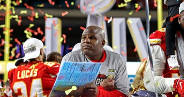 Feb 2, 2020; Miami Gardens, Florida, USA; Kansas City Chiefs offensive coordinator Eric Bieniemy reacts after beating the San Francisco 49ers in Super Bowl LIV at Hard Rock Stadium. Mandatory Credit: Matthew Emmons-USA TODAY Sports