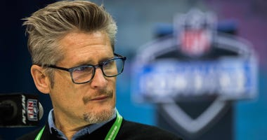 Feb 25, 2020; Indianapolis, Indiana, USA; Atlanta Falcons general manager Thomas Demitroff speaks to the media during the 2020 NFL Combine in the Indianapolis Convention Center. Mandatory Credit: Trevor Ruszkowski-USA TODAY Sports