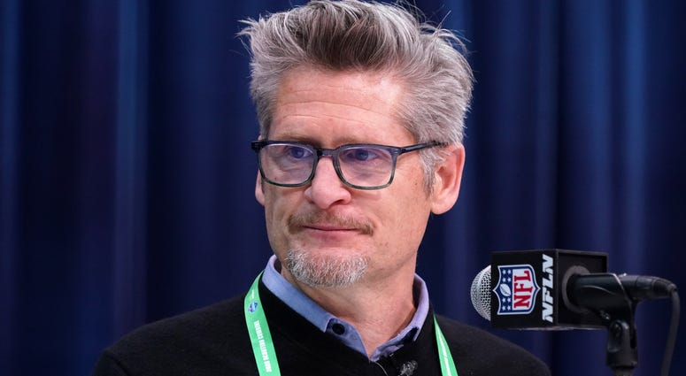 Feb 25, 2020; Indianapolis, Indiana, USA; Atlanta Falcons general manager Thomas Dimitroff speaks during the NFL Scouting Combine at the Indiana Convention Center. Mandatory Credit: Kirby Lee-USA TODAY Sports