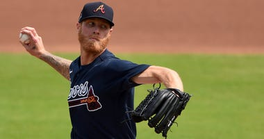 Feb 25, 2020; North Port, Florida, USA; Atlanta Braves starting pitcher Mike Foltynewicz (26) pitching against the Minnesota Twins during the first inning at CoolToday Park. Mandatory Credit: John David Mercer-USA TODAY Sports