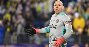 Feb 29, 2020; Nashville, TN, USA; Atlanta United goalkeeper Brad Guzan (1) before a corner kick during the second half against the Nashville SC at Nissan Stadium. Mandatory Credit: Christopher Hanewinckel-USA TODAY Sports