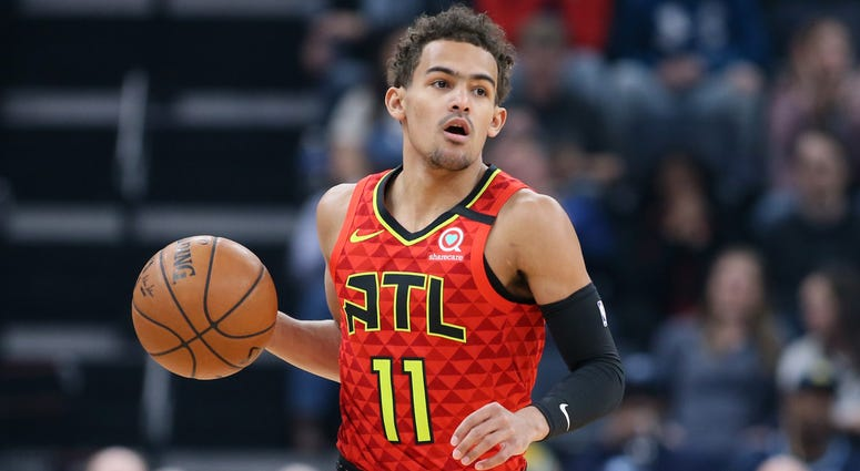 Mar 7, 2020; Memphis, Tennessee, USA; Atlanta Hawks guard Trae Young (11) dribbles the ball against the Memphis Grizzlies during the first half at FedExForum. Mandatory Credit: Nelson Chenault-USA TODAY Sports