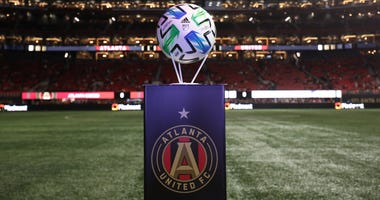 Mar 7, 2020; Atlanta, Georgia, USA; The game soccer ball is shown before a match between Atlanta United and FC Cincinnati at Mercedes-Benz Stadium. Mandatory Credit: Jason Getz-USA TODAY Sports