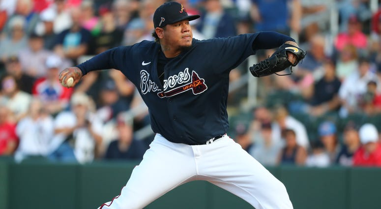 Mar 9, 2020; North Port, Florida, USA; Atlanta Braves starting pitcher Felix Hernandez (34) throws a pitch during the first inning against the Boston Red Sox at CoolToday Park. Mandatory Credit: Kim Klement-USA TODAY Sports