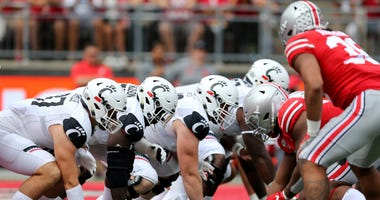 The Cincinnati Bearcats offensive line lines up for a play during a college football game against the Ohio State Buckeyes, Saturday, Sept. 7, 2019, at Ohio Stadium in Columbus. Cincinnati Bearcats At Ohio State Buckeyes Sept 7
