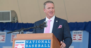 Jul 27, 2014; Cooperstown, NY, USA; Hall of Fame inductee Tom Glavine makes his acceptance speech during the class of 2014 national baseball Hall of Fame induction ceremony at National Baseball Hall of Fame. Mandatory Credit: Gregory J. Fisher-USA TODAY S