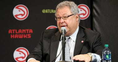 Jun 25, 2015; Atlanta, GA, USA; Atlanta Hawks ceo Steve Koonin speaks during a press conference at Philips Arena. The Atlanta Hawks officially announced today that it was purchased by an ownership group led by Tony Ressler. Mandatory Credit: Jason Getz-US